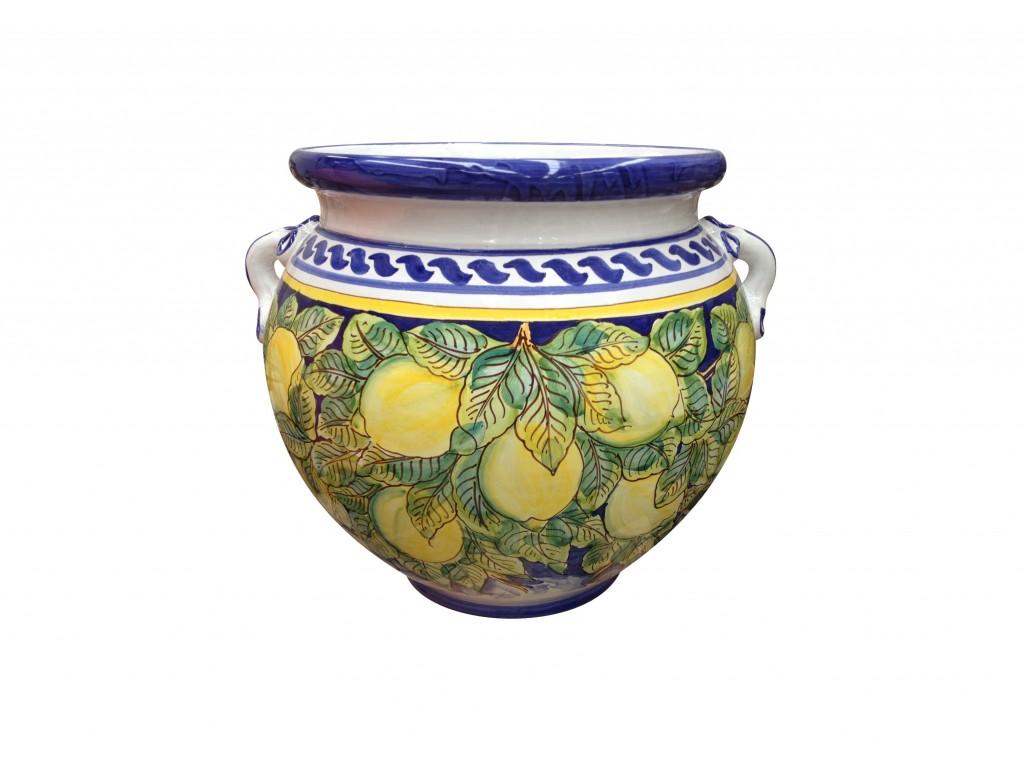 Cachepot con manici decoro limoni collezione cachepot