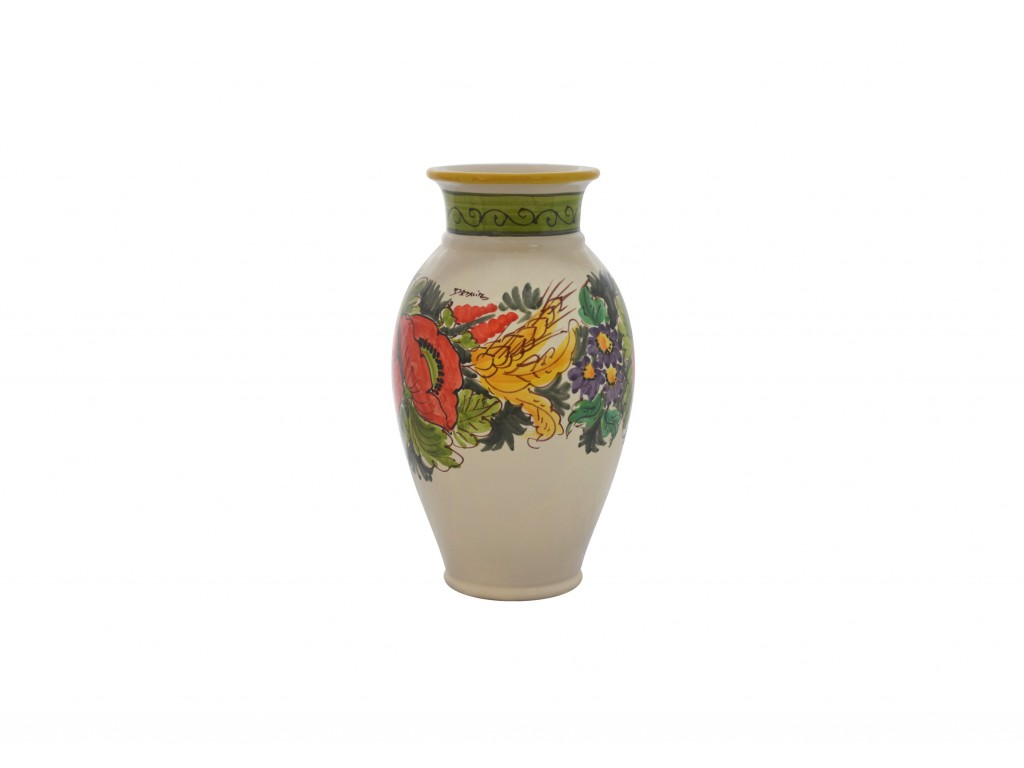 Vaso con bordo decoro papaveri e spighe collezione vasi