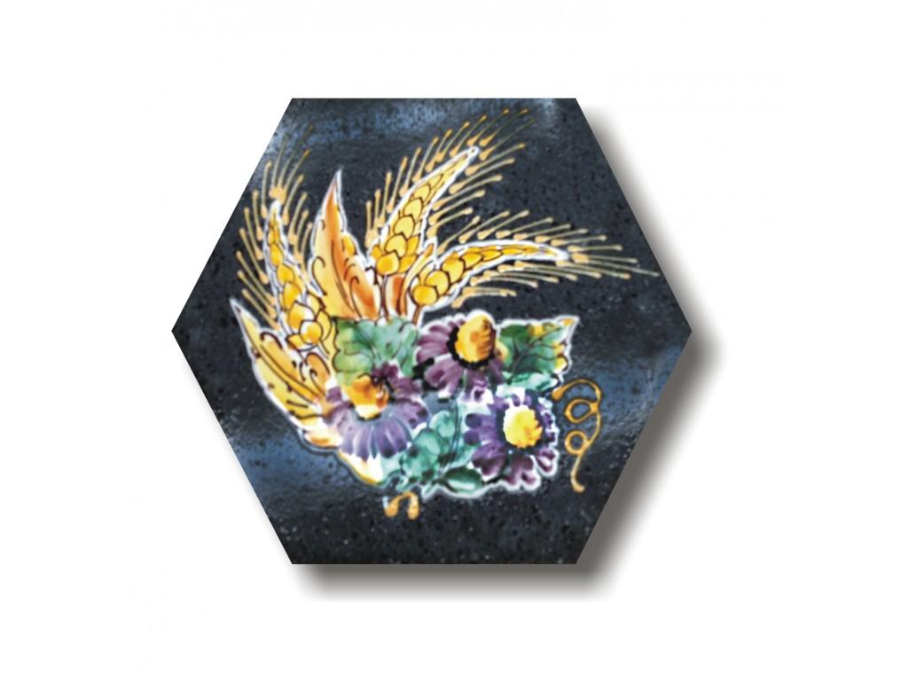 Piastrella decoro fiori e spighe collezione inserti in lava